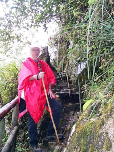 Bob climbs steps on the Inca Trail near Wiñay Wayna in Peru, South America