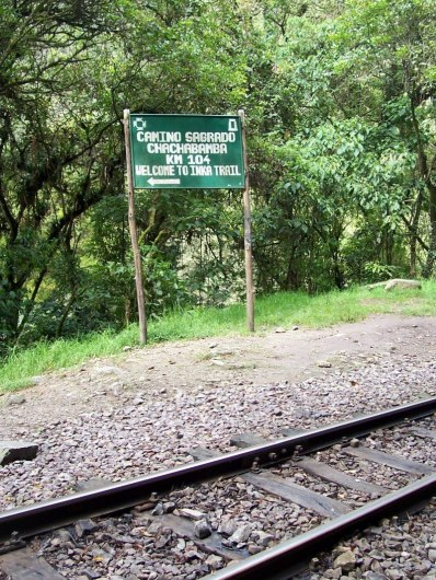Chachabamba Inca Trail sign, Peru
