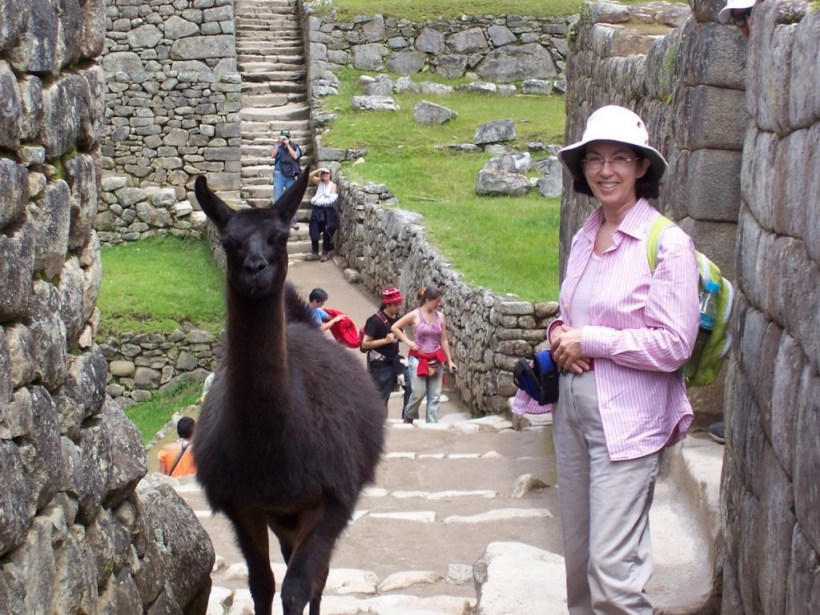 An image of Jean standing beside a Llama at Machu Picchu at Urubamba Province, Peru.