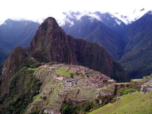 Machu Picchu on a cloudy day in Peru
