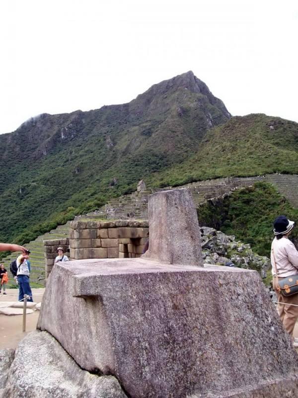 An image of the Intihuatana or hitching post at Machu Picchu in Urubamba Province, Peru.