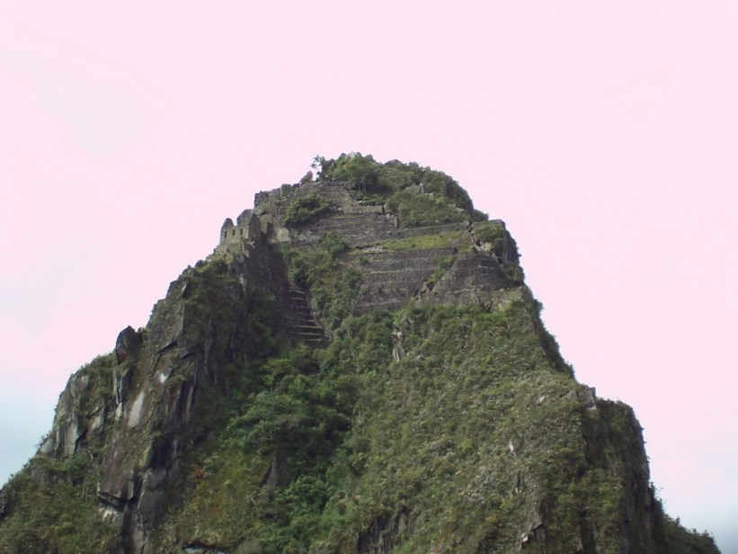 An image of the top of Huayna Picchu at Machu Picchu in Urubamba Province, Peru.