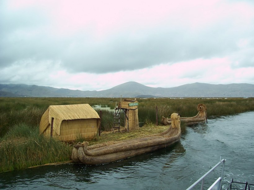 reed boat along floating island, lake titicaca