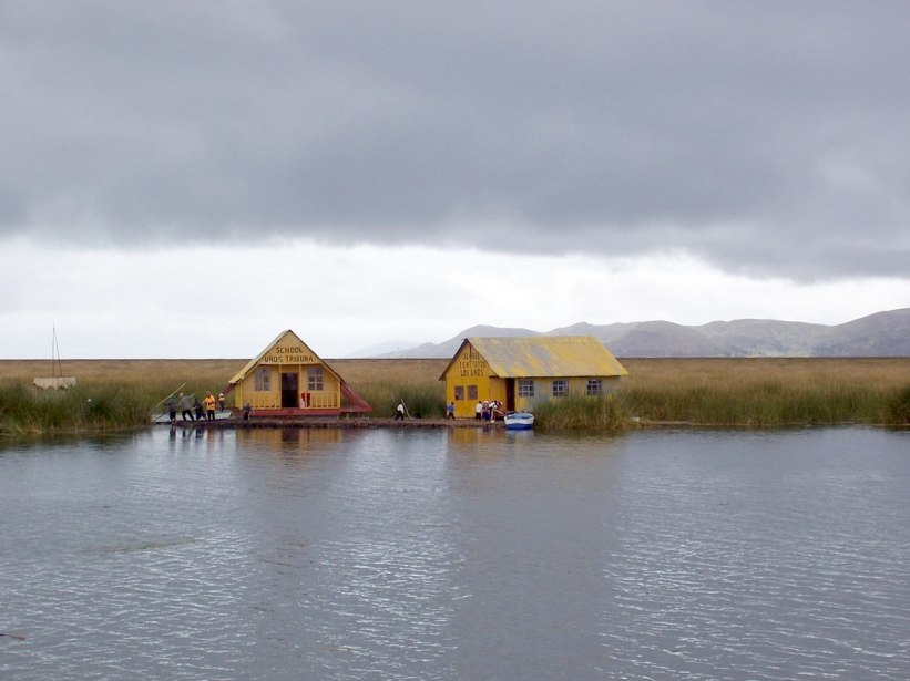 Uros school on a floating island on Lake Titicaca in Peru, South America
