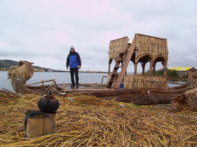 watchtower on boat, lake titicaca, peru