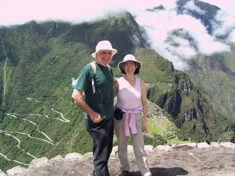 An image of Bob and Jean standing above Machu Picchu in Urubamba Province, Peru.