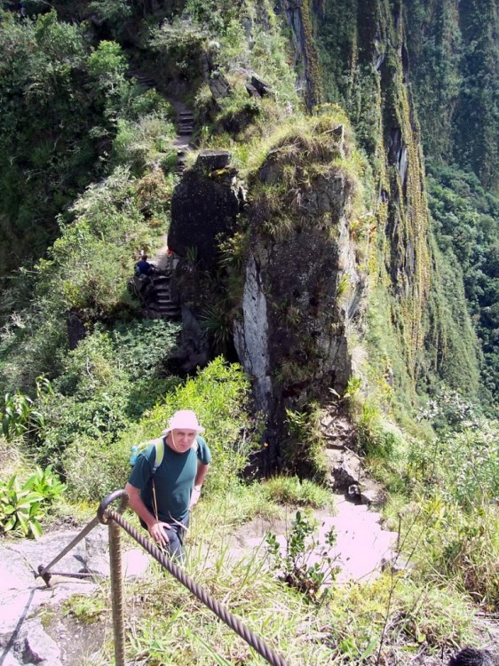 Bob on the hiking trail up Huayna Picchu, at Machu Picchu, Peru