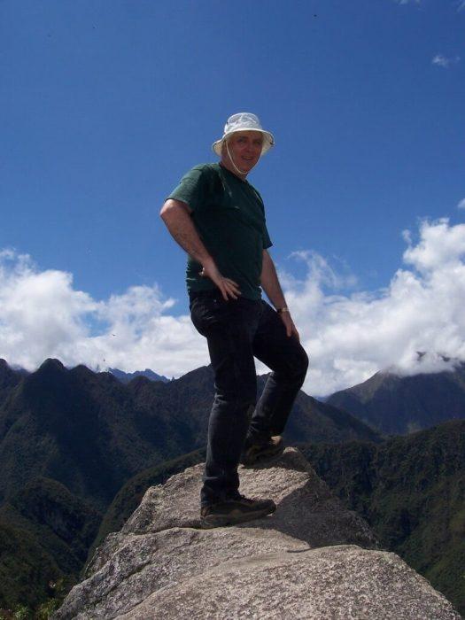 Bob standing on the pinnacle of Huayna Picchu, at Machu Picchu