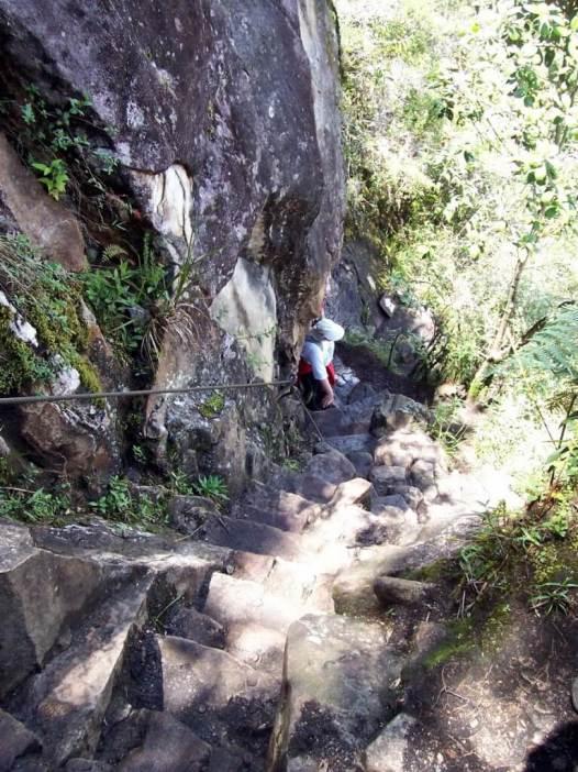 Stone steps on the hiking trail up Huayna Picchu, at Machu Picchu