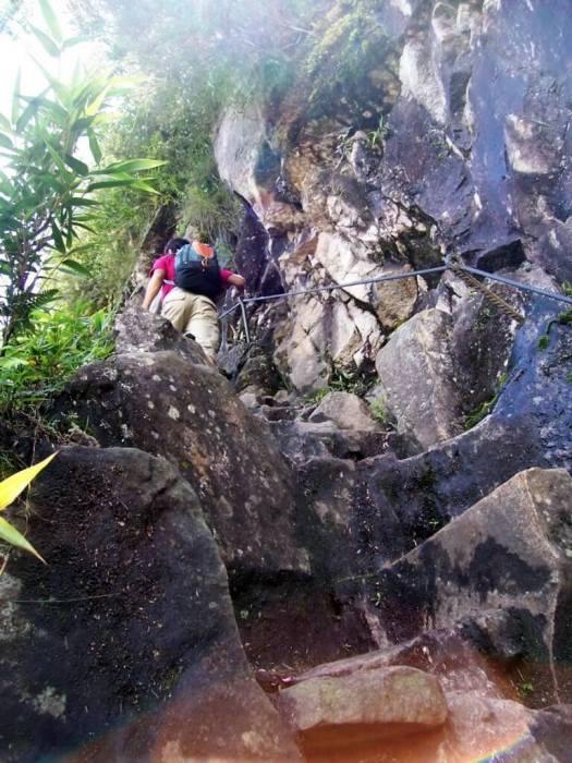 Stone steps on the hiking trail at Huayna Picchu, Machu Picchu