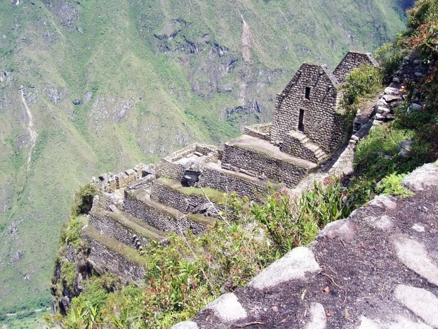 View of terrace and buildings on the side of Huayna Picchu, at Machu Picchu