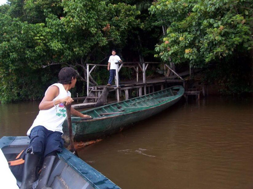 canoes at dock at sandoval lake lodge - peru