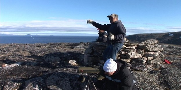 Inuit guide points out a Bowhead whales off Kekerten Island in the Cumberland Sound, off Baffin Island, Nunavut, Canada