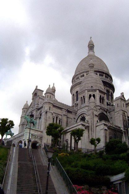 Basilique du Sacre Coeur - view up steps on right side- Montmartre - Paris