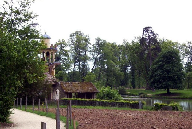 Marie Antoinette's estate gardens - vegetable garden with The Marlborough Tower - France