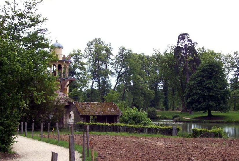 Marie Antoinette's estate gardens - vegetable garden with The Marlborough Tower - France