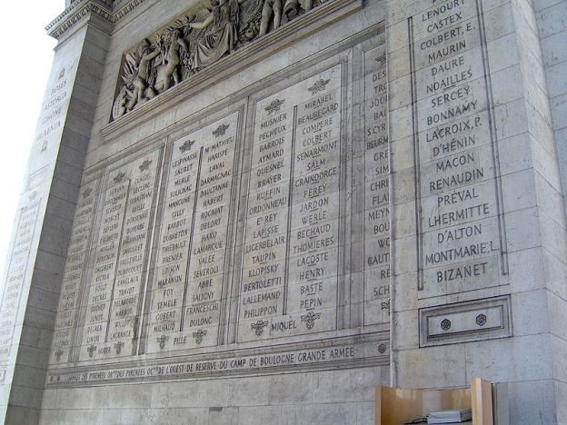 Names of great battles and victories engraved on the Arc de Triomphe, Paris, France