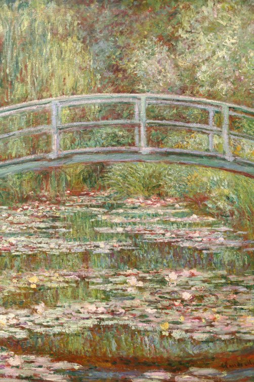 "An image of Claude Monet's work of art titled ""Bridge Over a Pond of Water Lilies""."