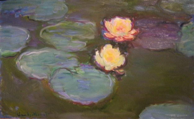 "An image of Claude Monet's work of art titled ""Nympheas""."
