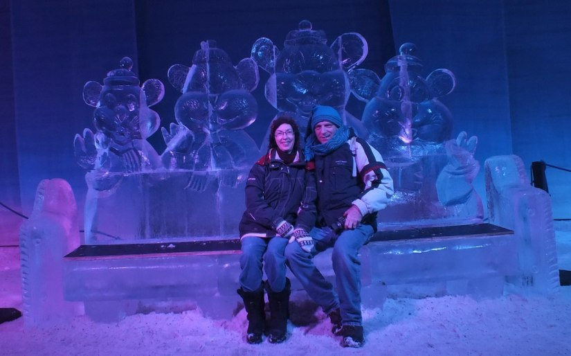 Jean and Bob sit on an Ice bench - Winterlude - Ottawa