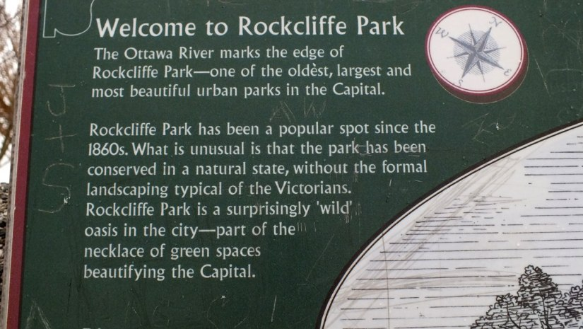 Rockcliffe Park sign on the Ottawa River - Canada