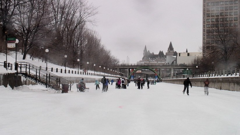 People skating on the Rideau Canal in Ottawa, Ontario, Canada