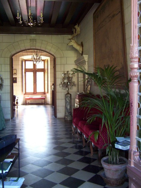 An image of a hallway inside Chateau de la Bourdaisiere in the Loire Valley in France.