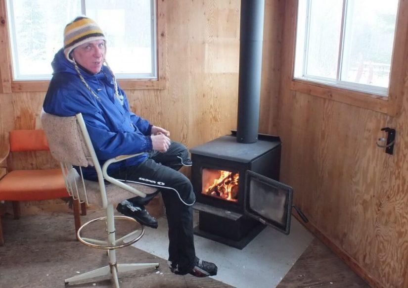 Bob, inside Pinetree shelter, leaf lake ski trail, Algonquin Provincial Park, Ontario, Canada