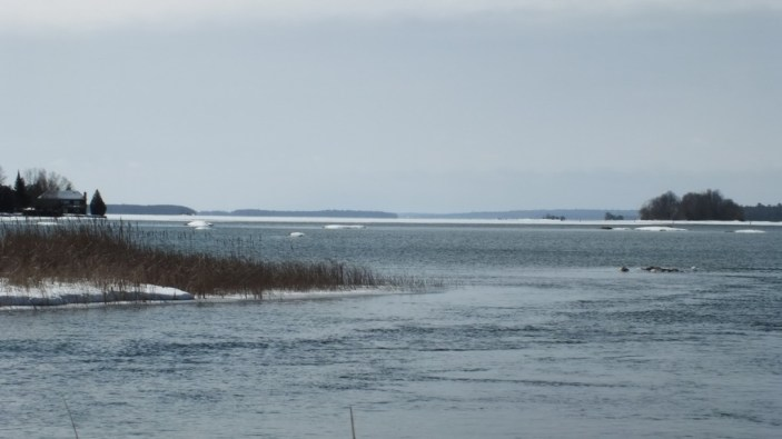 View of partly frozen Lake Couchiching from washago - Ontario