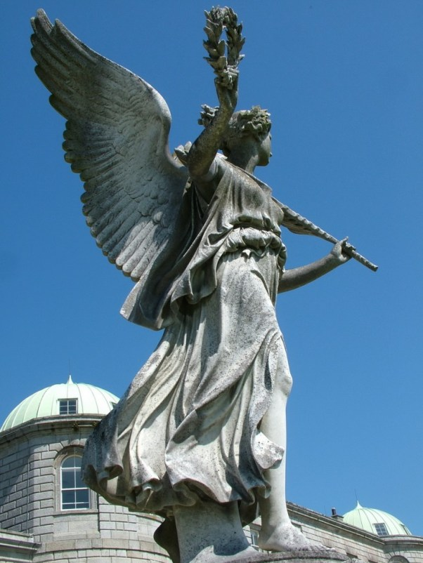 Angel statue overlooking grounds - powerscourt - wicklow - ireland