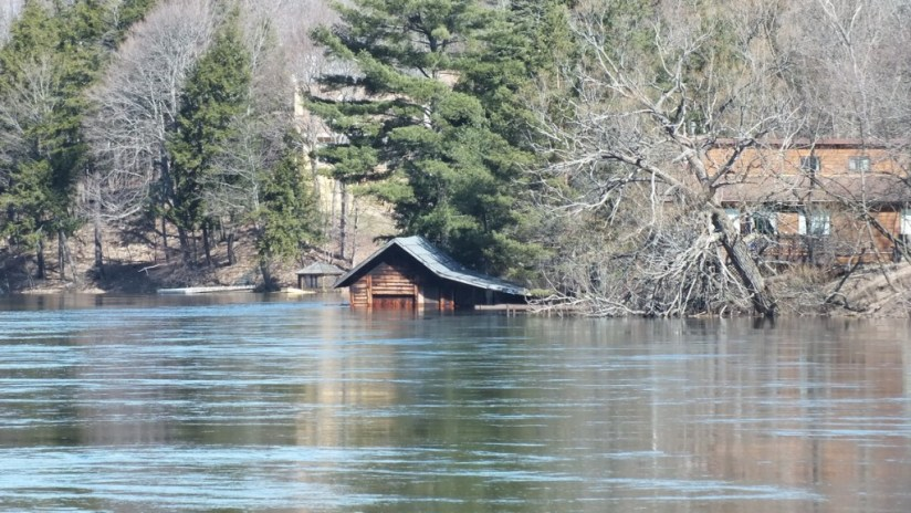 Huntsville flooding - flooded boat house - Ontario - April 21 2013