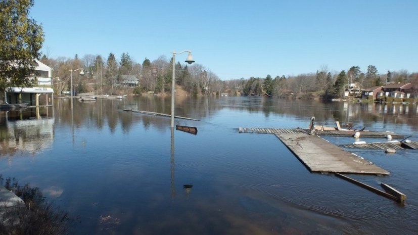 Huntsville flooding - flooded riverside park area - Ontario - April 21 2013