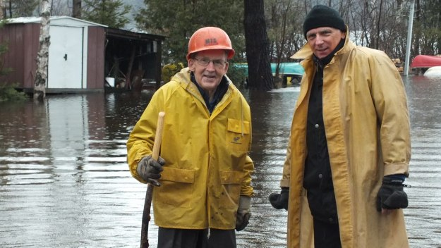 Oxtongue Lake flooding - my dad marvin and Bob prepare to check things out - April 20 2013