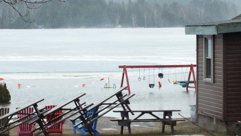 Oxtongue Lake flooding - playground under water - April 20 2013