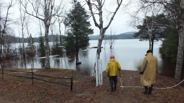 Oxtongue Lake flooding - west shoreline - April 20 2013