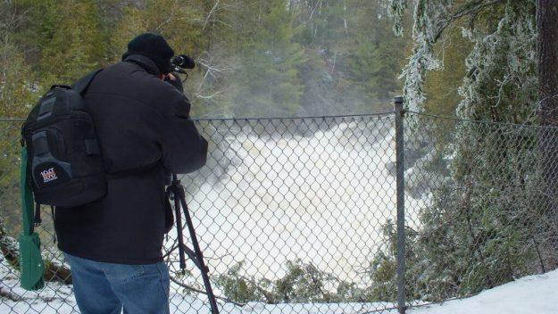 Ragged Falls - Bob films the falls - Oxtongue River - Ontario - April 20 2013