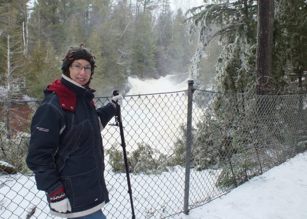 Ragged Falls - Jean stands overlooking raging waters - Oxtongue River - Ontario - April 20 2013