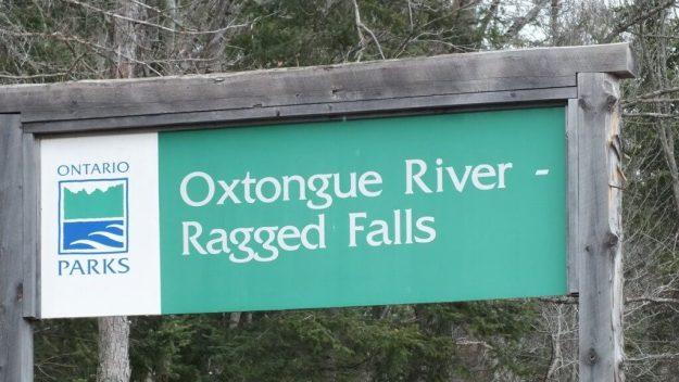 Ragged Falls - Parks Ontario sign - Oxtongue River - Ontario - April 20 2013