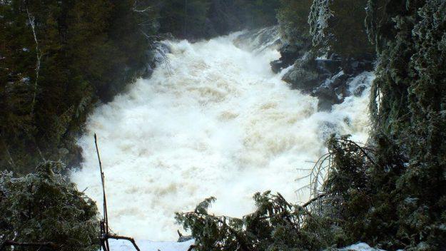 Ragged Falls - a wall of water - Oxtongue River - Ontario - April 20 2013