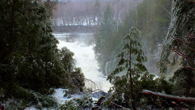 Ragged Falls - looking down to flooded valley - Oxtongue River - Ontario - April 20 2013
