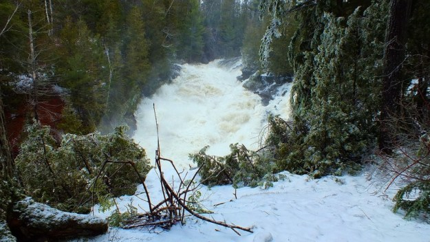 Ragged Falls - spring flooding of falls - Oxtongue River - Ontario - April 20 2013