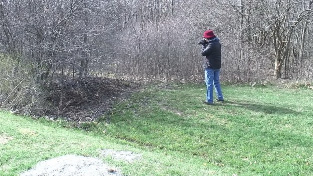 jean takes picture of eastern towhee - Beamer Memorial Conservation Area - Grimsby - Ontario