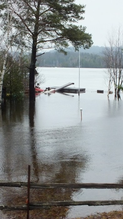 oxtongue lake - flooded beach - april 19 2013