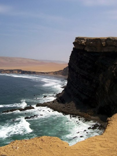 Pacific coast at Paracas National Reserve on the Paracas Peninsula, Ica, Peru.