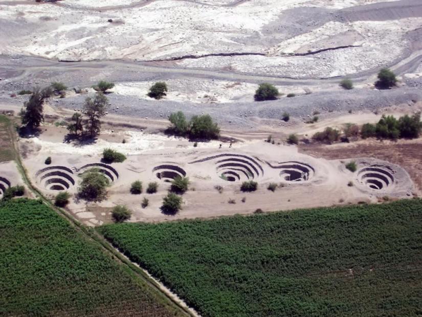 Nazca Puquios and Aqueduct system near Nazca, Peru, South America