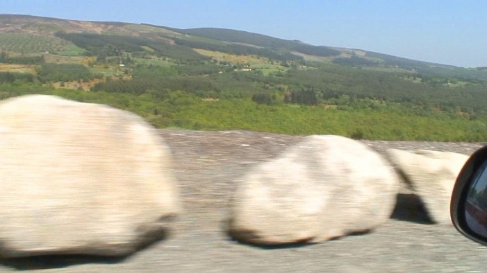 a blur of rocks along roadway - Enniskerry - Wicklow - Ireland