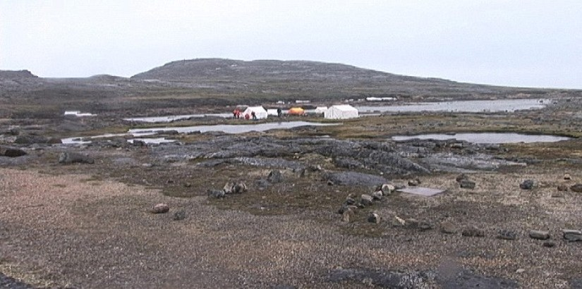 basecamp on waters edge - kekerten island - nunavut