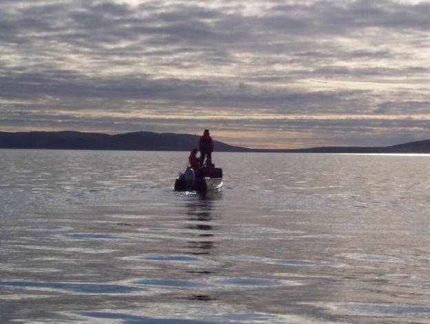 inuit canoe off baffin island - nunavut - canada
