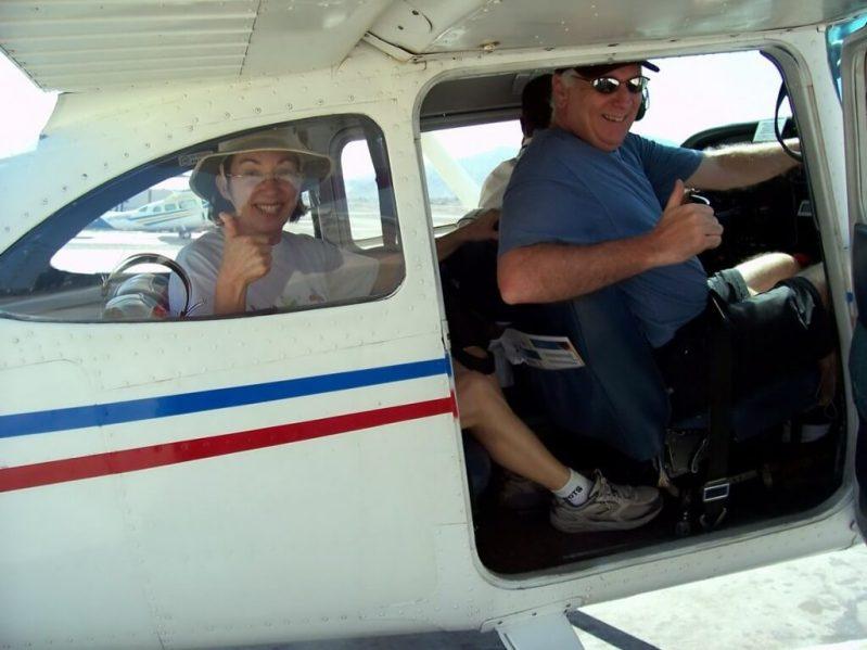 jean and bob prepare for take off - nazca lines - peru - south america
