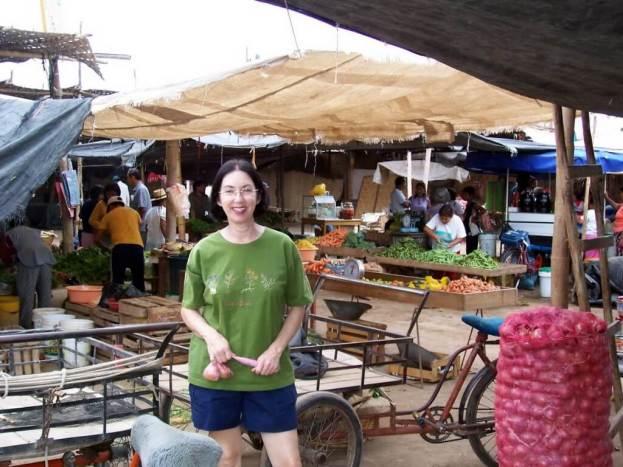 jean in the street market in Nazca, Peru